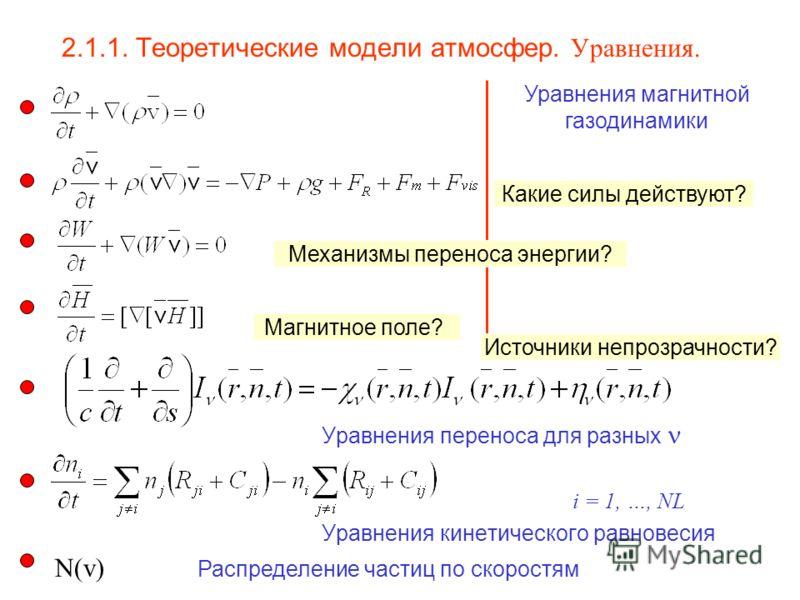 2.1.1. Теоретические модели атмосфер. Уравнения. Уравнения переноса для разных i = 1, …, NL Уравнения кинетического равновесия Уравнения магнитной газодинамики N(v) Распределение частиц по скоростям Какие силы действуют? Механизмы переноса энергии? М
