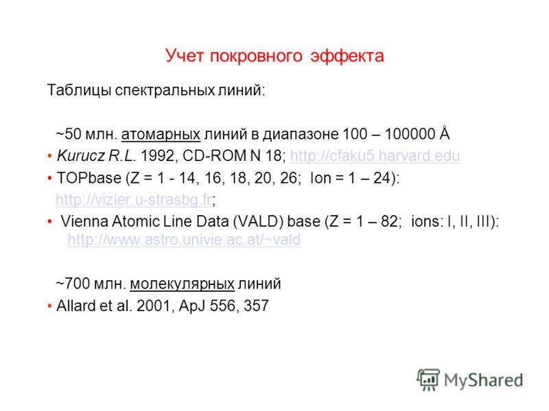 Учет покровного эффекта Таблицы спектральных линий: ~50 млн. атомарных линий в диапазоне 100 – 100000 Å Kurucz R.L. 1992, CD-ROM N 18; http://cfaku5.harvard.eduhttp://cfaku5.harvard.edu TOPbase (Z = 1 - 14, 16, 18, 20, 26; Ion = 1 – 24): http://vizie