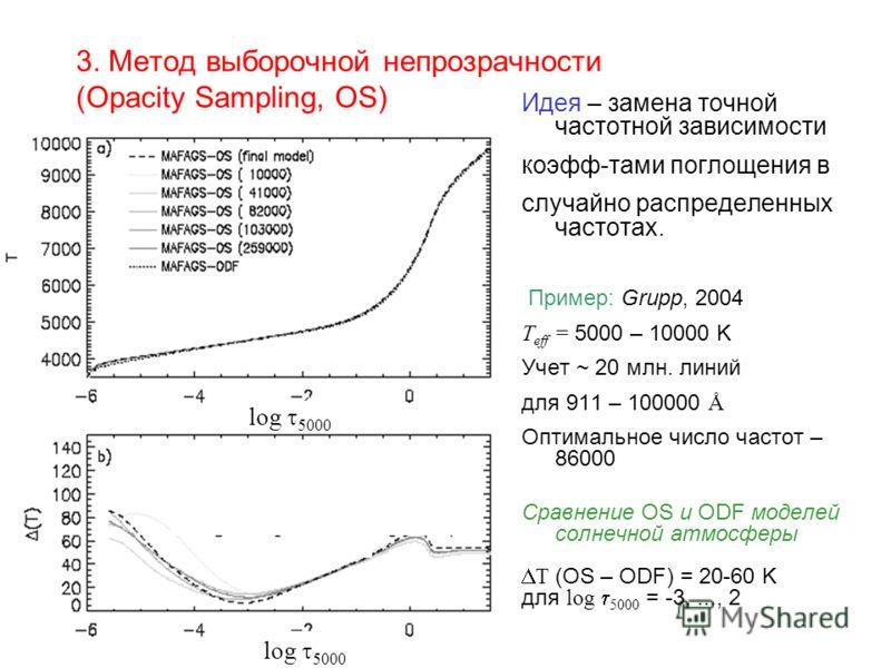 3. Метод выборочной непрозрачности (Opacity Sampling, OS) Идея – замена точной частотной зависимости коэфф-тами поглощения в случайно распределенных частотах. Пример: Grupp, 2004 T eff = 5000 – 10000 K Учет ~ 20 млн. линий для 911 – 100000 Å Оптималь