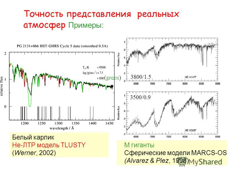 Точность представления реальных атмосфер Примеры: Белый карлик Не-ЛТР модель TLUSTY (Werner, 2002) M гиганты Сферические модели MARCS-OS (Alvarez & Plez, 1998) 3800/1.5 3500/0.9 (green)