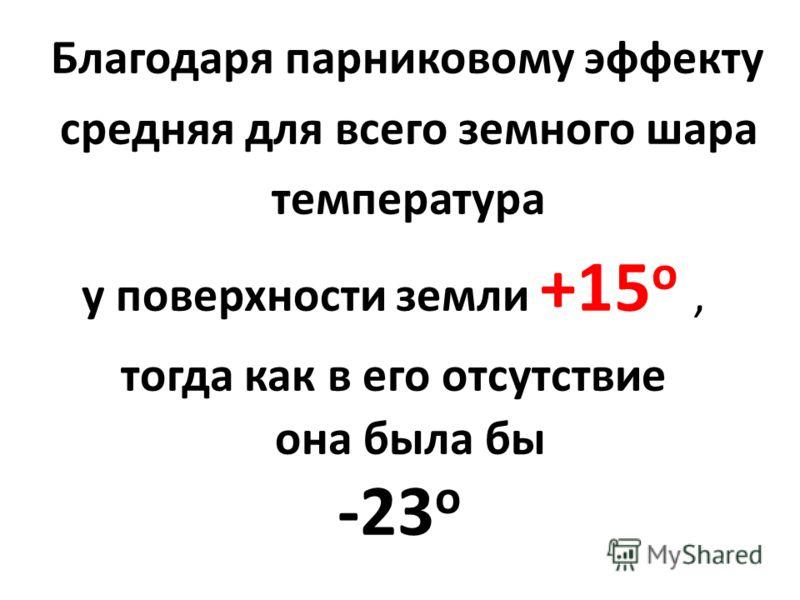 Благодаря парниковому эффекту средняя для всего земного шара температура у поверхности земли +15 о, тогда как в его отсутствие она была бы -23 о