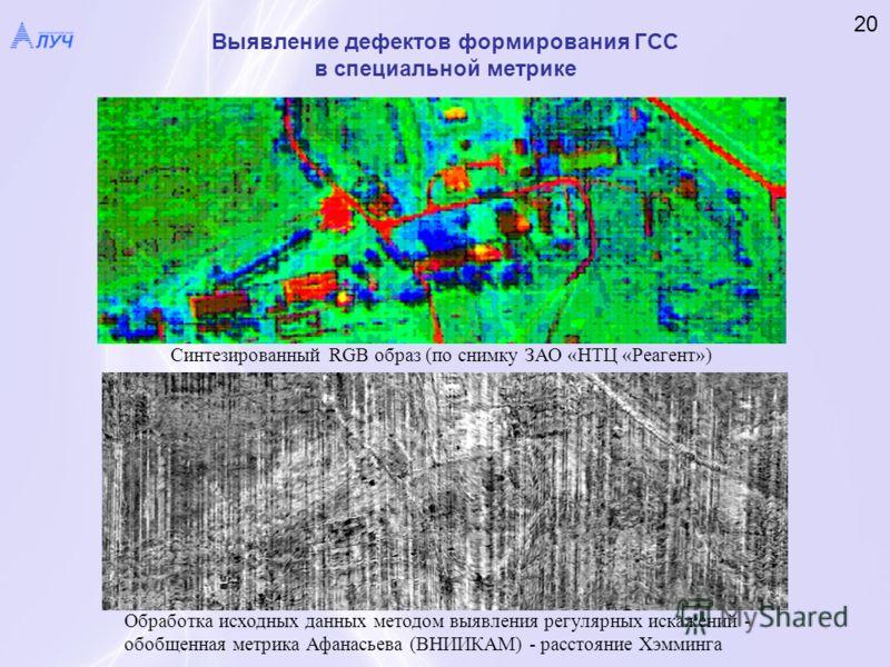 Выявление дефектов формирования ГСС в специальной метрике 20 Синтезированный RGB образ (по снимку ЗАО «НТЦ «Реагент») Обработка исходных данных методом выявления регулярных искажений - обобщенная метрика Афанасьева (ВНИИКАМ) - расстояние Хэмминга