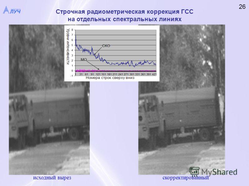 Строчная радиометрическая коррекция ГСС на отдельных спектральных линиях 26 исходный вырез скорректированный