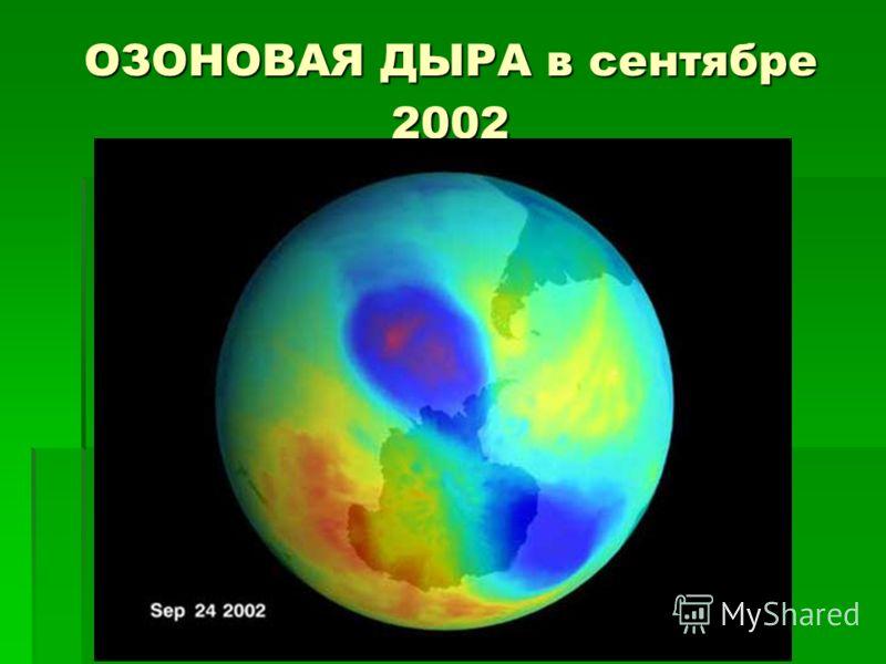 ОЗОНОВАЯ ДЫРА в сентябре 2002