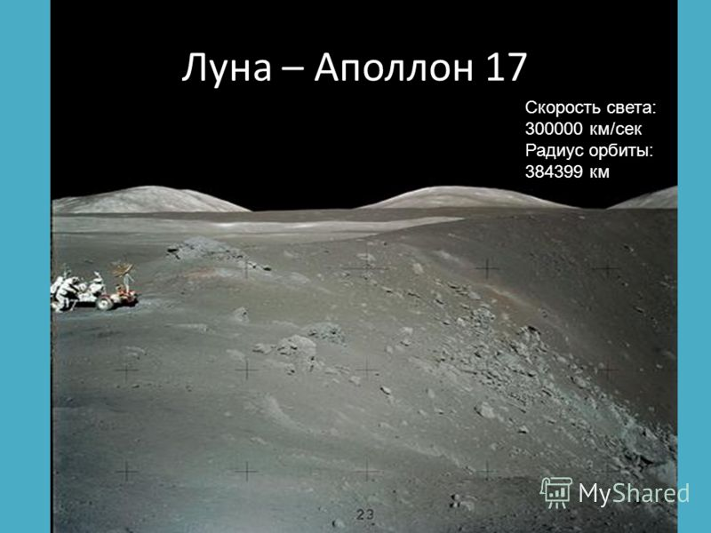 Луна – Аполлон 17 Скорость света: 300000 км/сек Радиус орбиты: 384399 км