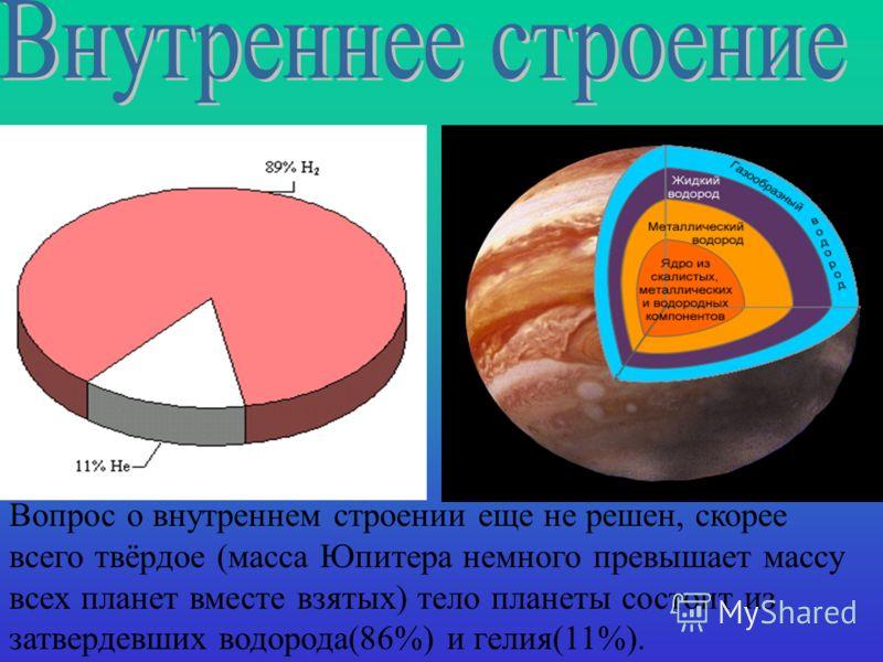 Вопрос о внутреннем строении еще не решен, скорее всего твёрдое (масса Юпитера немного превышает массу всех планет вместе взятых) тело планеты состоит из затвердевших водорода(86%) и гелия(11%).