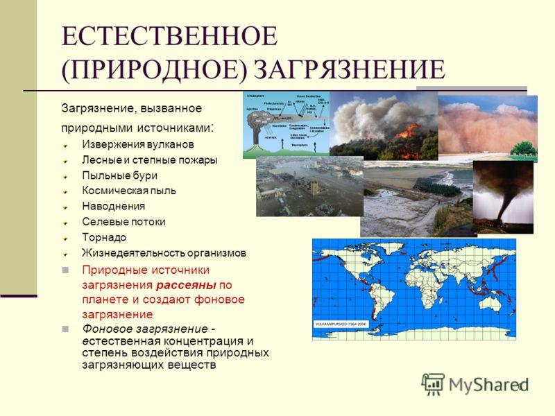 ЕСТЕСТВЕННОЕ (ПРИРОДНОЕ) ЗАГРЯЗНЕНИЕ Загрязнение, вызванное природными источниками : Извержения вулканов Лесные и степные пожары Пыльные бури Космическая пыль Наводнения Селевые потоки Торнадо Жизнедеятельность организмов Природные источники загрязне