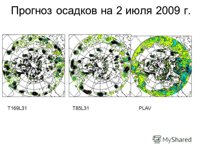 Прогноз осадков на 2 июля 2009 г. T169L31T85L31PLAV