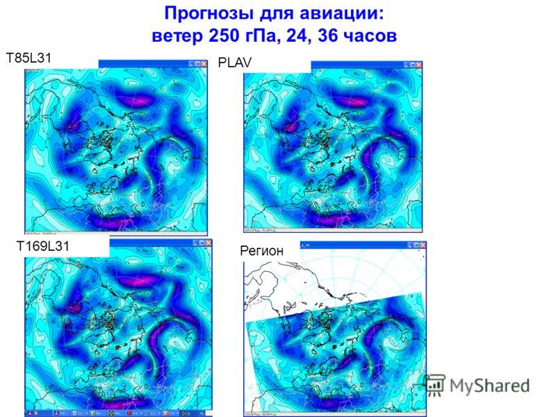 Прогнозы для авиации: ветер 250 гПа, 24, 36 часов T85L31 PLAV T169L31 Регион