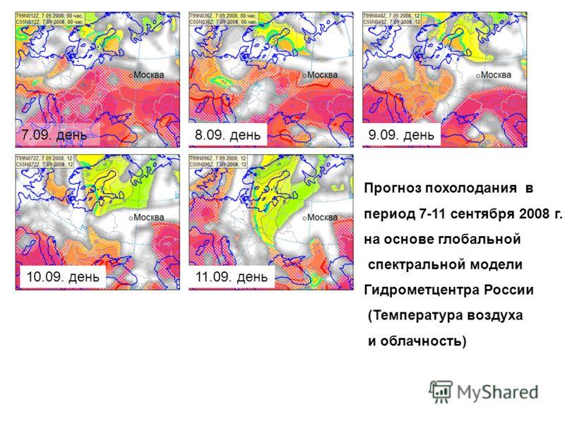 Прогноз похолодания в период 7-11 сентября 2008 г. на основе глобальной спектральной модели Гидрометцентра России (Температура воздуха и облачность) 7.09. день8.09. день9.09. день 10.09. день11.09. день