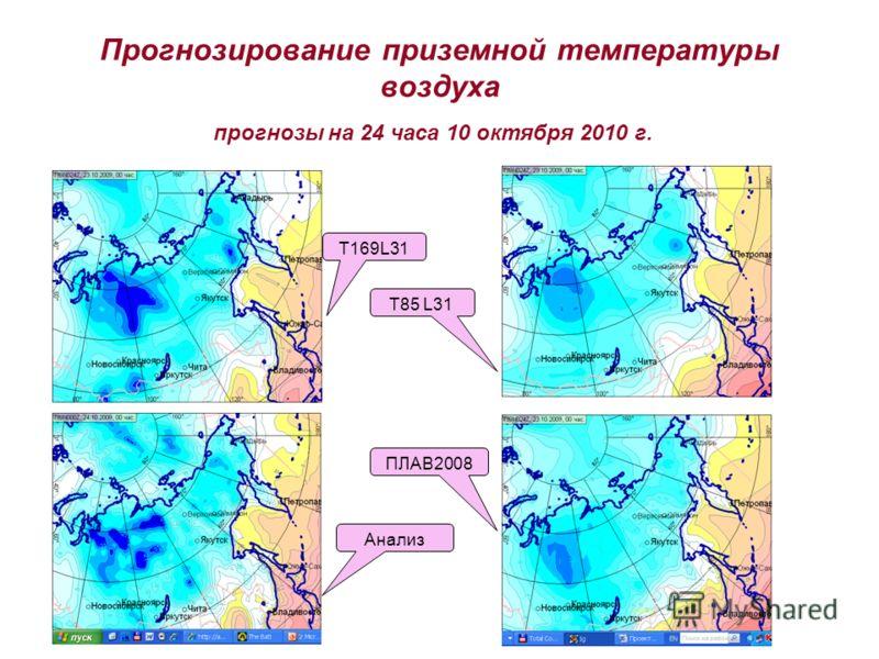 Прогнозирование приземной температуры воздуха T169L31 T85 L31 ПЛАВ2008 Анализ прогнозы на 24 часа 10 октября 2010 г.
