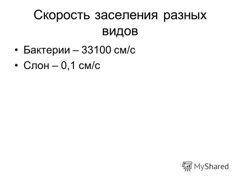 Скорость заселения разных видов Бактерии – 33100 см/с Слон – 0,1 см/с