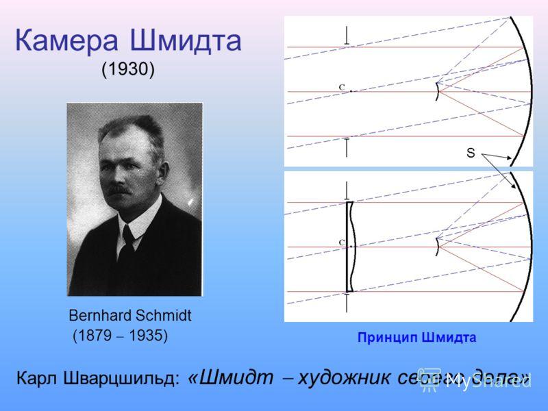 Камера Шмидта (1930) Карл Шварцшильд: «Шмидт художник своего дела» Bernhard Schmidt (1879 1935) Принцип Шмидта S
