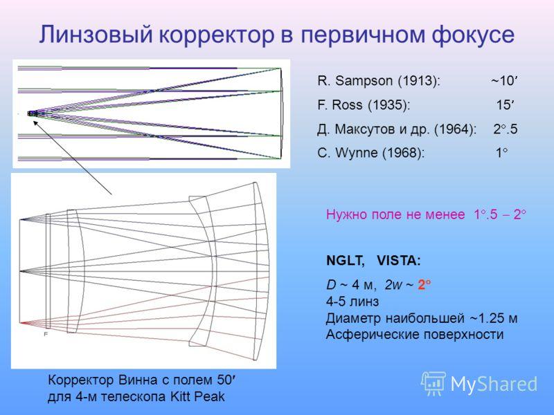 Линзовый корректор в первичном фокусе Нужно поле не менее 1.5 2 NGLT, VISTA: D ~ 4 м, 2w ~ 2 4-5 линз Диаметр наибольшей ~1.25 м Асферические поверхности Корректор Винна с полем 50 для 4-м телескопа Kitt Peak R. Sampson (1913): ~10 F. Ross (1935): 15