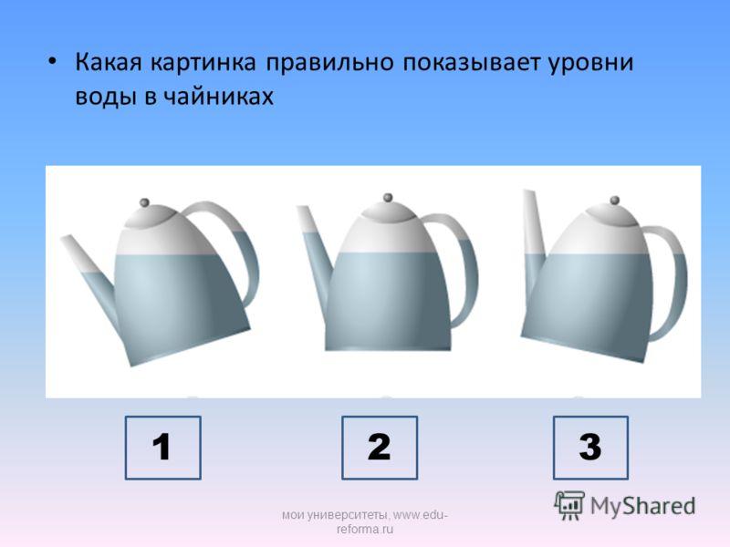 Какая картинка правильно показывает уровни воды в чайниках 123 мои университеты, www.edu- reforma.ru