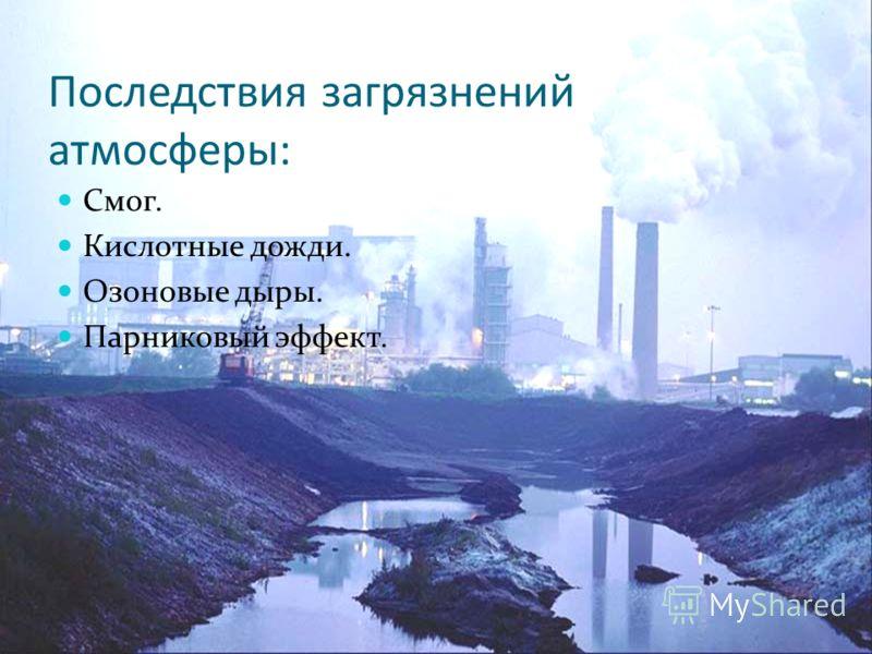 Последствия загрязнений атмосферы: Смог. Кислотные дожди. Озоновые дыры. Парниковый эффект.
