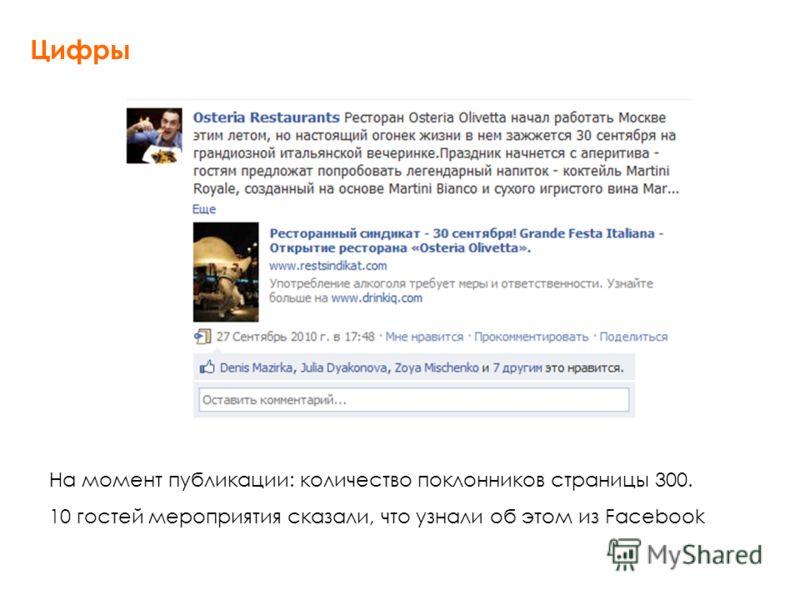 На момент публикации: количество поклонников страницы 300. 10 гостей мероприятия сказали, что узнали об этом из Facebook