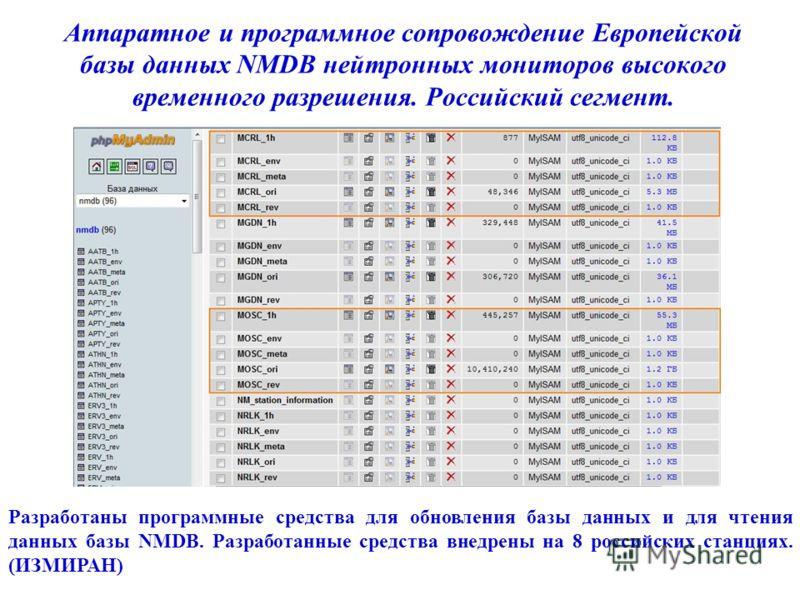 Аппаратное и программное сопровождение Европейской базы данных NMDB нейтронных мониторов высокого временного разрешения. Российский сегмент. Разработаны программные средства для обновления базы данных и для чтения данных базы NMDB. Разработанные сред