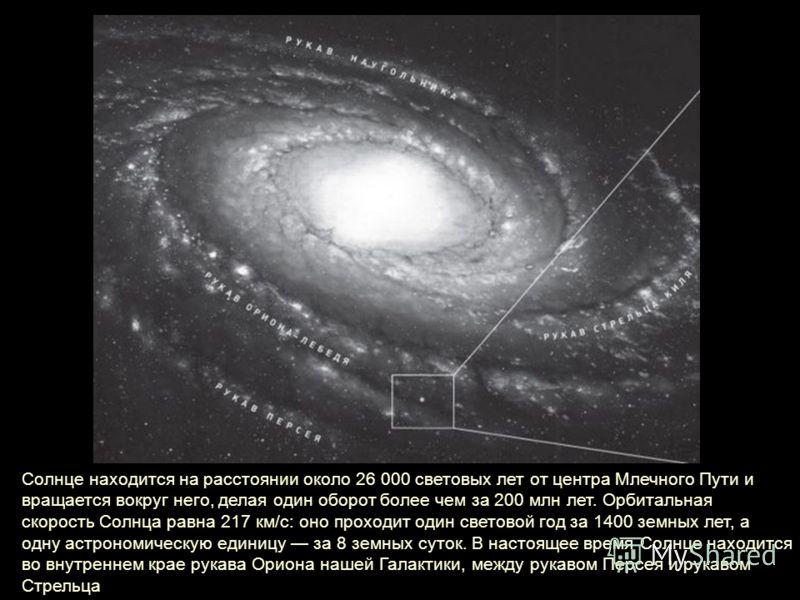 Солнце находится на расстоянии около 26 000 световых лет от центра Млечного Пути и вращается вокруг него, делая один оборот более чем за 200 млн лет. Орбитальная скорость Солнца равна 217 км/с: оно проходит один световой год за 1400 земных лет, а одн