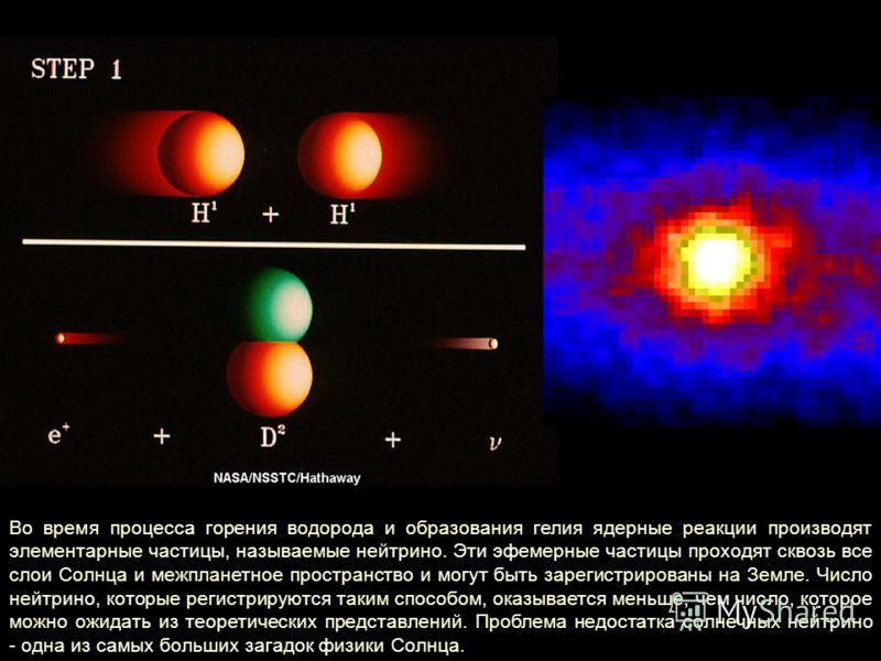 Во время процесса горения водорода и образования гелия ядерные реакции производят элементарные частицы, называемые нейтрино. Эти эфемерные частицы проходят сквозь все слои Солнца и межпланетное пространство и могут быть зарегистрированы на Земле. Чис