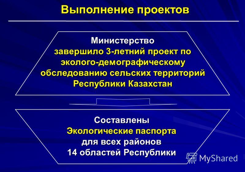 Составлены Экологические паспорта для всех районов 14 областей Республики Министерство завершило 3-летний проект по эколого-демографическому обследованию сельских территорий Республики Казахстан Выполнение проектов