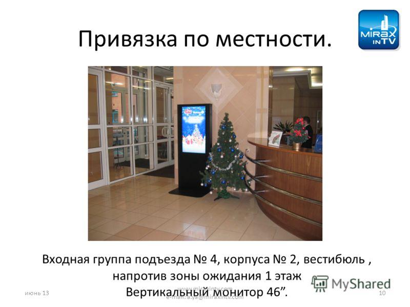 Привязка по местности. Входная группа подъезда 4, корпуса 2, вестибюль, напротив зоны ожидания 1 этаж Вертикальный монитор 46. июнь 1310 www.miraxintv.com e-mail: a.ya@miraxintv.com