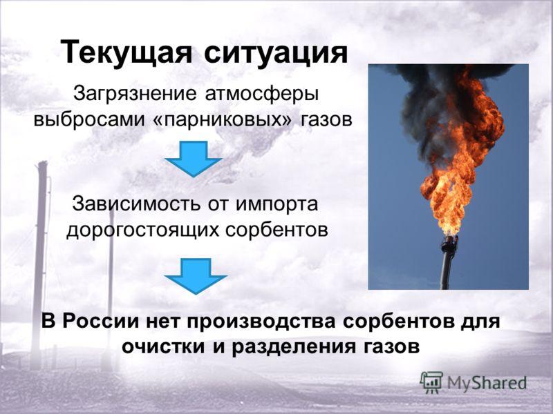 Текущая ситуация Загрязнение атмосферы выбросами «парниковых» газов Зависимость от импорта дорогостоящих сорбентов В России нет производства сорбентов для очистки и разделения газов