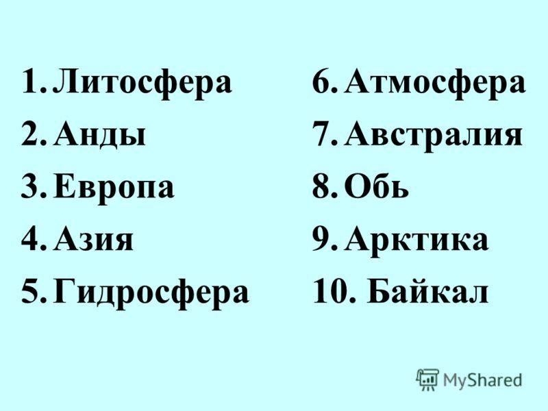 1.Литосфера 2.Анды 3.Европа 4.Азия 5.Гидросфера 6.Атмосфера 7.Австралия 8.Обь 9.Арктика 10. Байкал