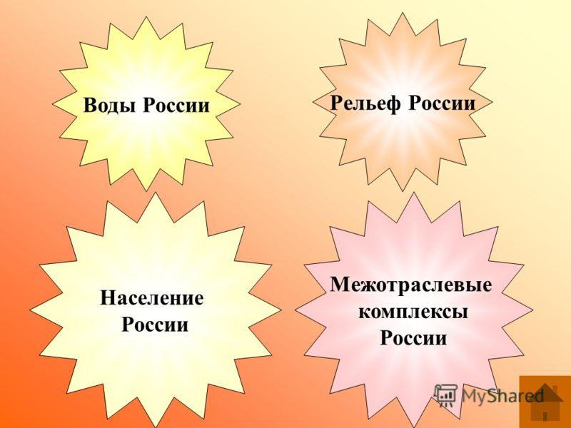 Воды России Рельеф России Население России Межотраслевые комплексы России