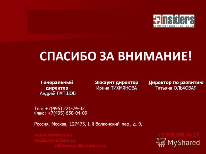 Тел: +7(495) 221-74-32 Факс: +7(495) 650-04-09 Россия, Москва, 127473, 1-й Волконский пер., д. 9, www.insiders.ru+7 926 269 44 17 inside@insiders.ru olkhovaya@insiders.ru СПАСИБО ЗА ВНИМАНИЕ! Генеральный директор Андрей ЛАПШОВ Андрей ЛАПШОВ Эккаунт д