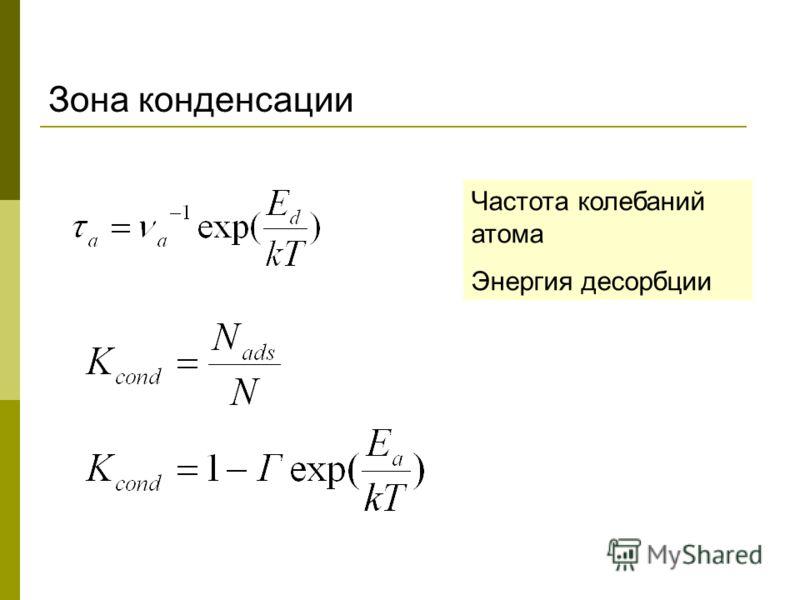 Зона конденсации Частота колебаний атома Энергия десорбции