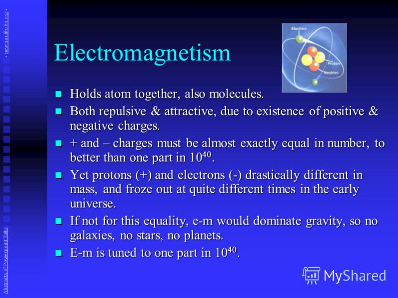Electromagnetism Holds atom together, also molecules. Holds atom together, also molecules. Both repulsive & attractive, due to existence of positive & negative charges. Both repulsive & attractive, due to existence of positive & negative charges. + a