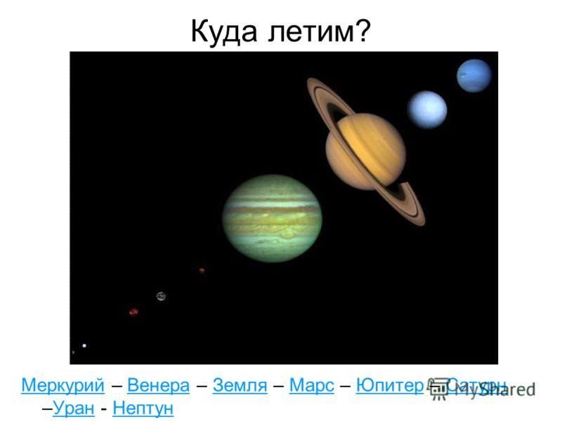 Куда летим? МеркурийМеркурий – Венера – Земля – Марс – Юпитер – Сатурн –Уран - НептунВенераЗемляМарсЮпитерСатурнУранНептун
