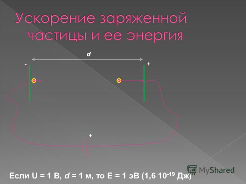 Если U = 1 В, d = 1 м, то E = 1 эВ (1,6 10 -19 Дж) + + - d --