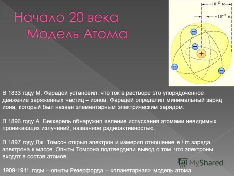В 1833 году М. Фарадей установил, что ток в растворе это упорядоченное движение заряженных частиц – ионов. Фарадей определил минимальный заряд иона, который был назван элементарным электрическим зарядом. В 1896 году А. Беккерель обнаружил явление исп