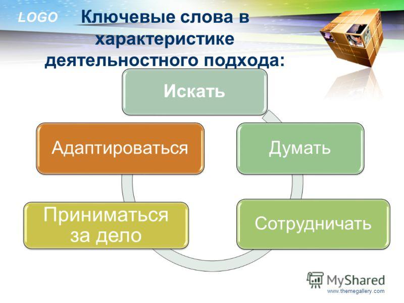 LOGO Ключевые слова в характеристике деятельностного подхода: www.themegallery.com Искать Думать Сотрудничать Приниматься за дело Адаптироваться