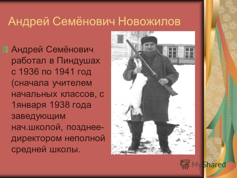 Андрей Семёнович работал в Пиндушах с 1936 по 1941 год (сначала учителем начальных классов, с 1января 1938 года заведующим нач.школой, позднее- директором неполной средней школы. Андрей Семёнович Новожилов