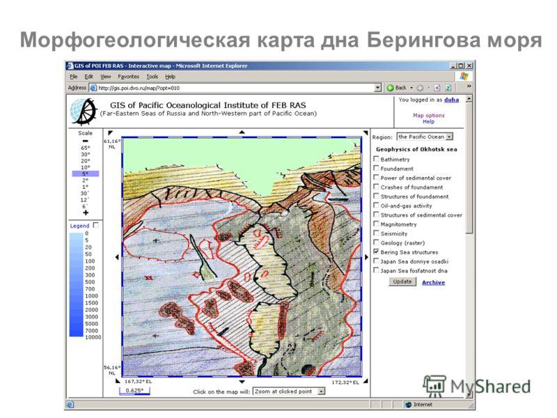 Морфогеологическая карта дна Берингова моря
