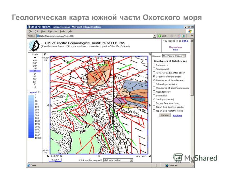 Геологическая карта южной части Охотского моря