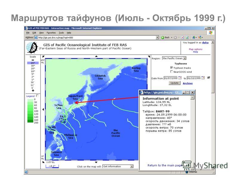 Маршрутов тайфунов (Июль - Октябрь 1999 г.)