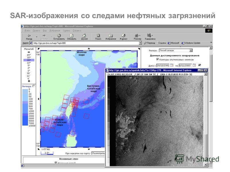 SAR-изображения со следами нефтяных загрязнений