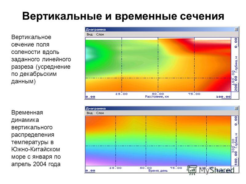 Вертикальные и временные сечения Вертикальное сечение поля солености вдоль заданного линейного разреза (усреднение по декабрьским данным) Временная динамика вертикального распределения температуры в Южно-Китайском море с января по апрель 2004 года