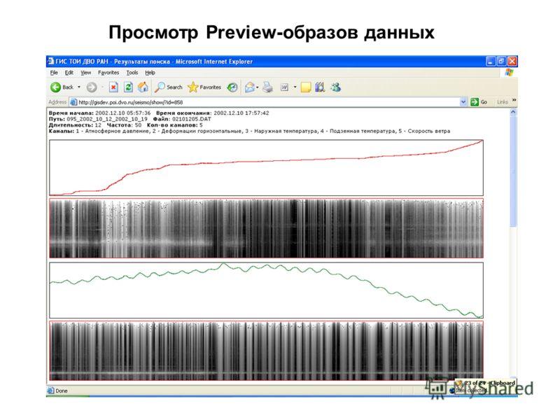 Просмотр Preview-образов данных