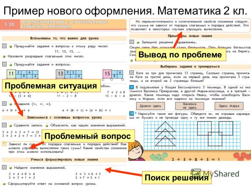 Пример нового оформления. Математика 2 кл. Проблемная ситуация Проблемный вопрос Вывод по проблеме Поиск решения