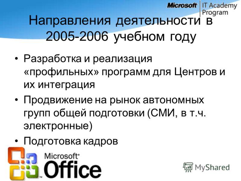 Направления деятельности в 2005-2006 учебном году Разработка и реализация «профильных» программ для Центров и их интеграция Продвижение на рынок автономных групп общей подготовки (СМИ, в т.ч. электронные) Подготовка кадров