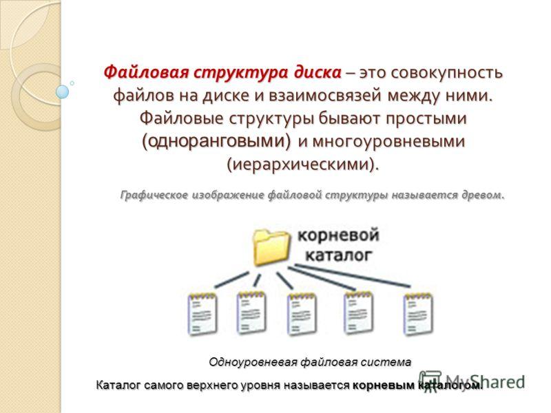 Файловая структура диска – это совокупность файлов на диске и взаимосвязей между ними. Файловые структуры бывают простыми (одноранговыми) и многоуровневыми ( иерархическими ). Графическое изображение файловой структуры называется древом. Одноуровнева