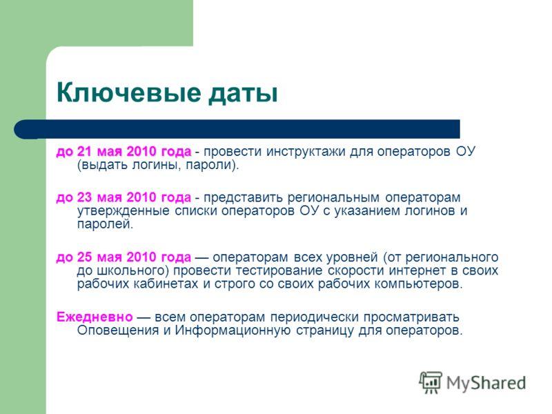 Ключевые даты до 21 мая 2010 года до 21 мая 2010 года - провести инструктажи для операторов ОУ (выдать логины, пароли). до 23 мая 2010 года - представить региональным операторам утвержденные списки операторов ОУ с указанием логинов и паролей. до 25 м
