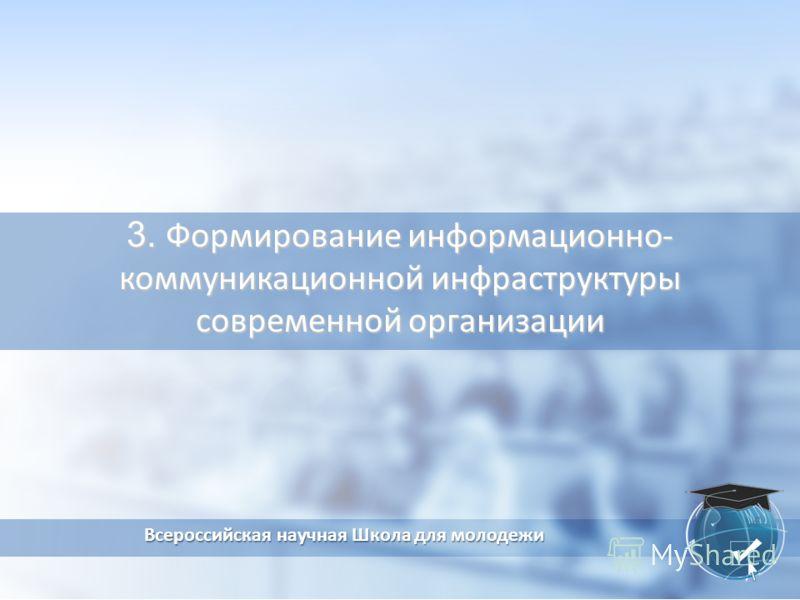 3. Формирование информационно- коммуникационной инфраструктуры современной организации Всероссийская научная Школа для молодежи