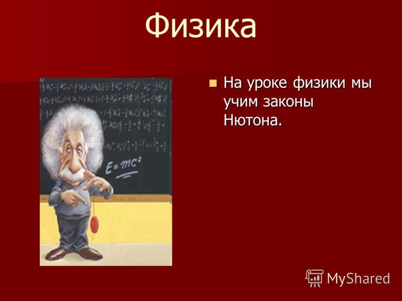 Физика На урокe физики мы учим законы Нютона. На урокe физики мы учим законы Нютона.