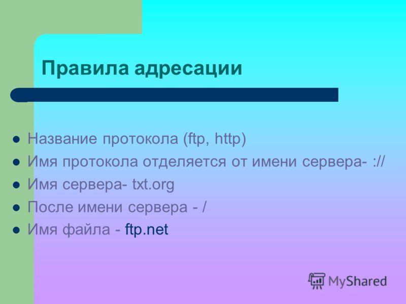 Правила адресации Название протокола (ftp, http) Имя протокола отделяется от имени сервера- :// Имя сервера- txt.org После имени сервера - / Имя файла - ftp.net